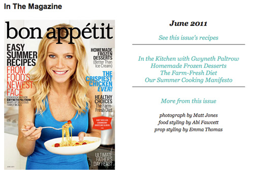 Gwyneth Paltrow on June 2011 Bon Appetit Cover