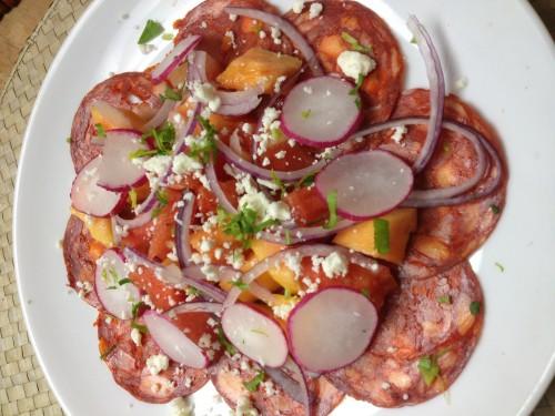 chorizo, watermelon, papaya, red onion and feta salad