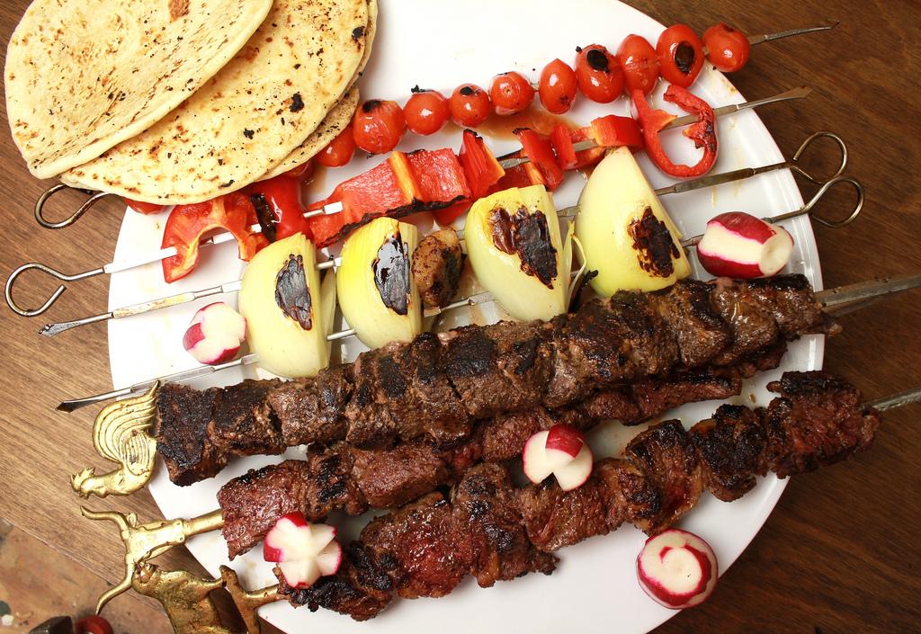 zaatar-spiced horse meat kebabs