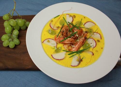 Yellow tomato gazpacho with head-on shrimp al ajillo