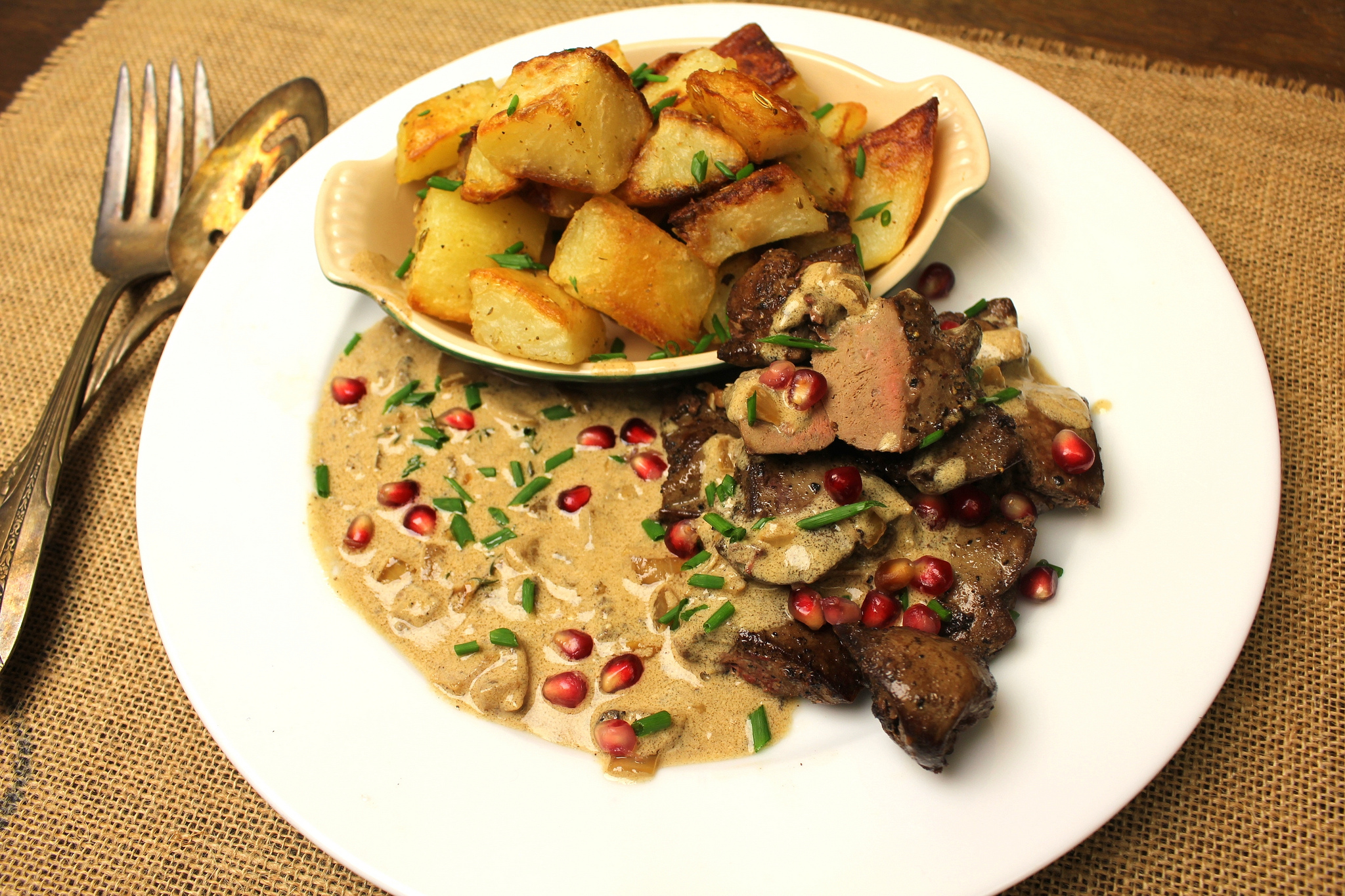 Duck Liver in Brandy Cream Sauce with Pomegranate Seeds